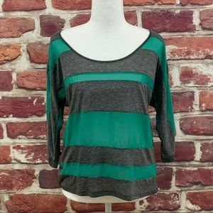 LUCCA COUTURE COLOR BLOCK GREEN STRIPED BLOUSE